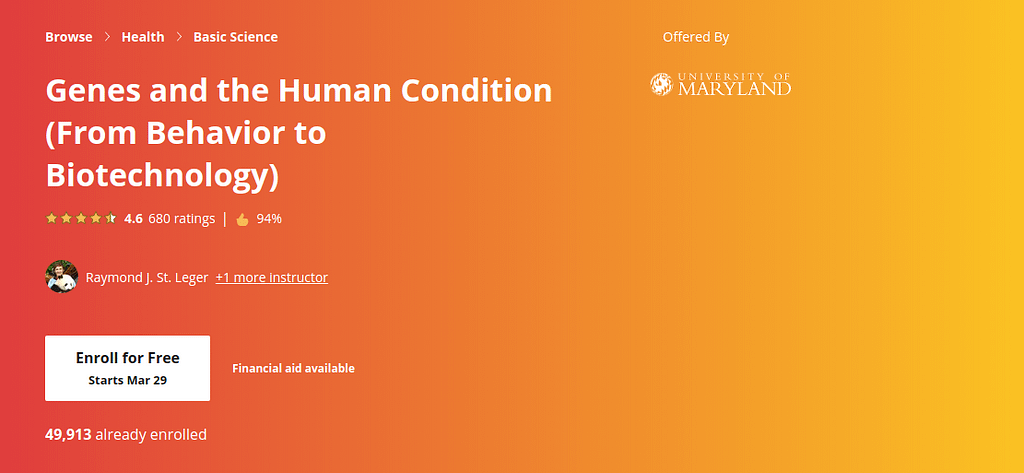 Genes and the Human Condition (From Behavior to Biotechnology)