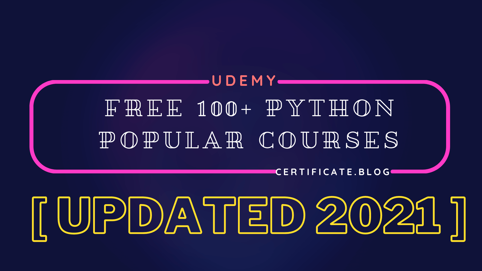 Free 100 Python popular courses from Udemy updated 2021