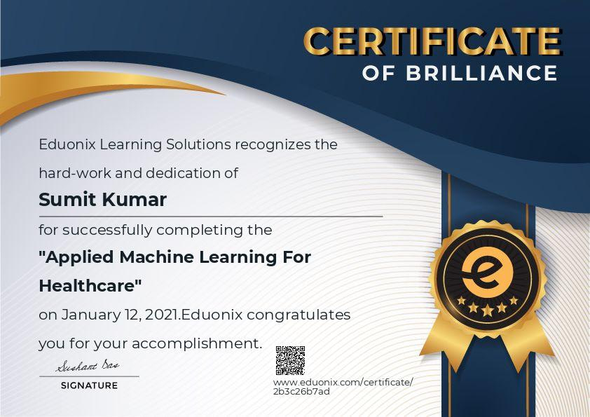 Applied Machine Learning For Healthcare.