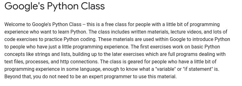 Google's Python Class