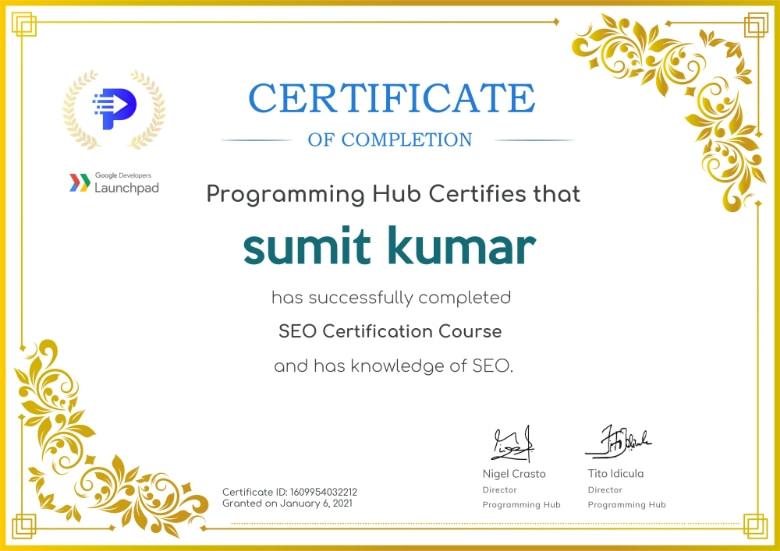 SEO certificate